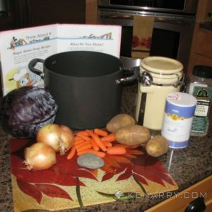 """Magic Stone Soup, based on the book """"Donald's Magic Stone"""" is surprisingly tasty, purple and fun to make, a great dinner for Halloween, a homeschool lesson on purple or for anyone who likes cabbage. - Kenarry.com"""