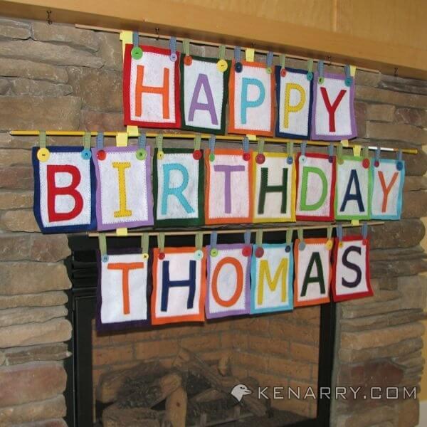 A DIY Felt Birthday Banner that reads Happy Birthday Thomas.