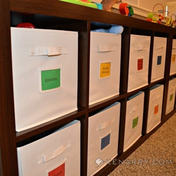 toy bins labeled for easy organization and clean up