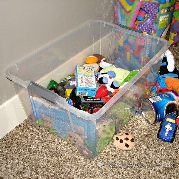 A tub of unused toys.