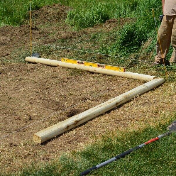 Framing a 90-degree angle for a sandbox.