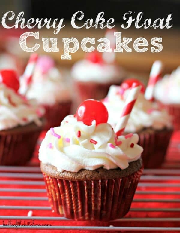 Cherry Coke Float Cupcakes from Belle of the Kitchen
