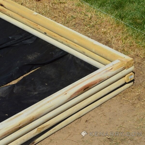 A nearly completed DIY Wood Sandbox