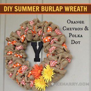 DIY Summer Burlap Wreath: Orange Chevron and Polka Dot - Kenarry.com