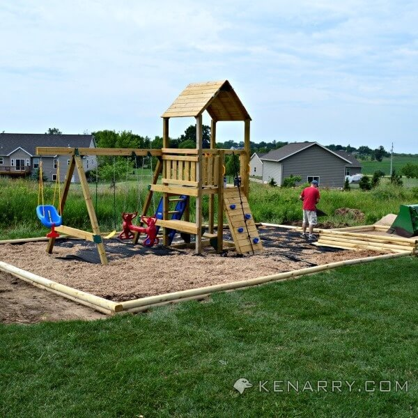 Backyard Playground Diy :  DIY backyard playground, now is the time to trim it off with your