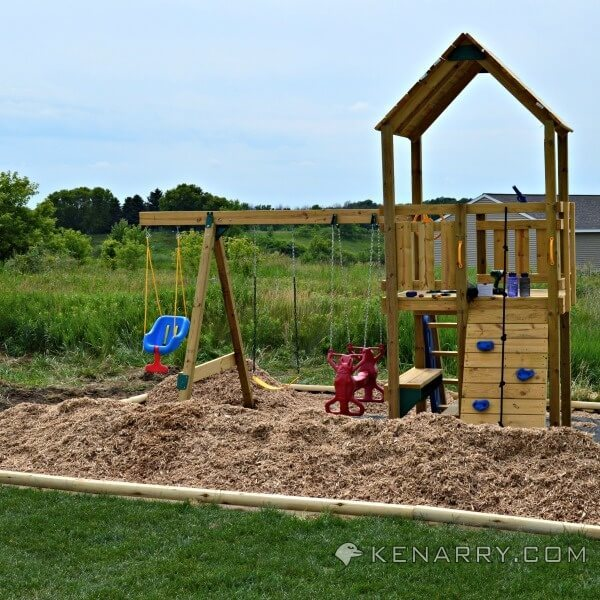 Backyard Playground Diy : the 10 yards of material moved into the DIY backyard playground