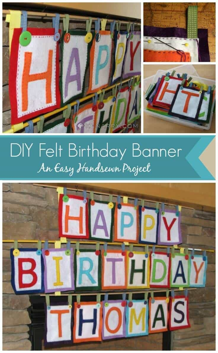 DIY Felt Birthday Banner: An Easy Handsewn Project - Tutorial includes a free downloadable pattern. - Kenarry.com