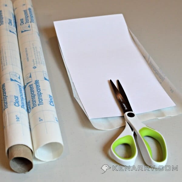 scissors and con-tact paper