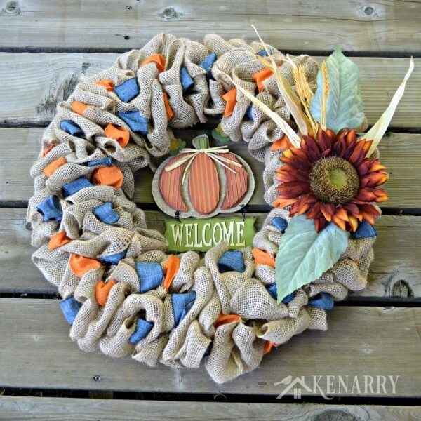 Fall Welcome Burlap Wreath from Kenarry