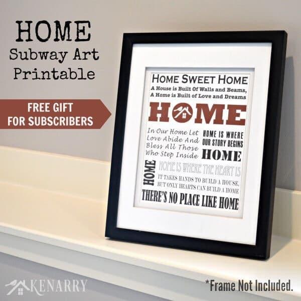 Home Subway Art Printable: Free Gift for Subscribers