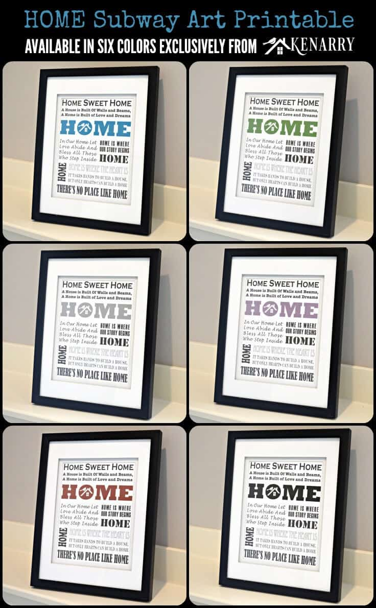 Home Subway Art Printable: Free Gift for Subscribers Available in Six Colors Exclusively from Kenarry #homesweethome #printables #freeprintables #diyhomedecor