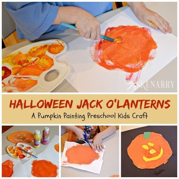 This festive and fun Halloween Jack O'Lantern Craft uses paint to teach your toddler, small child or kid how yellow and red combine to make orange.