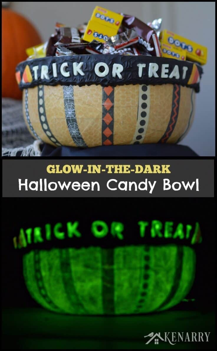 Halloween Candy Bowl: A Glow-in-the-Dark Craft #plaidcrafts #modpodge #decoden #whippedclay
