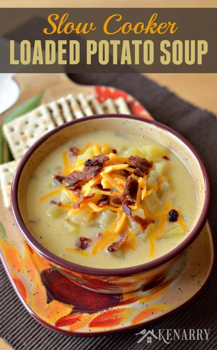 Loaded Potato Soup in a Slow Cooker - a creamy comfort food loaded with ham, bacon, cheese and lots of potatoes. You can easily make this yummy soup in your crockpot or slow cooker.