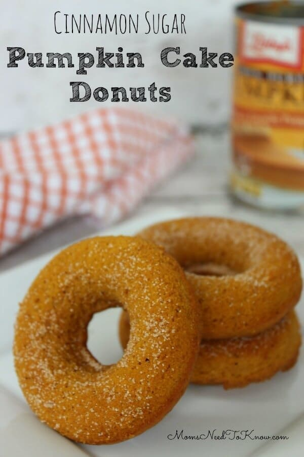 Pumpkin Cake Donuts with Cinnamon and Sugar - Moms Need to Know featured on Ideas for the Home by Kenarry®