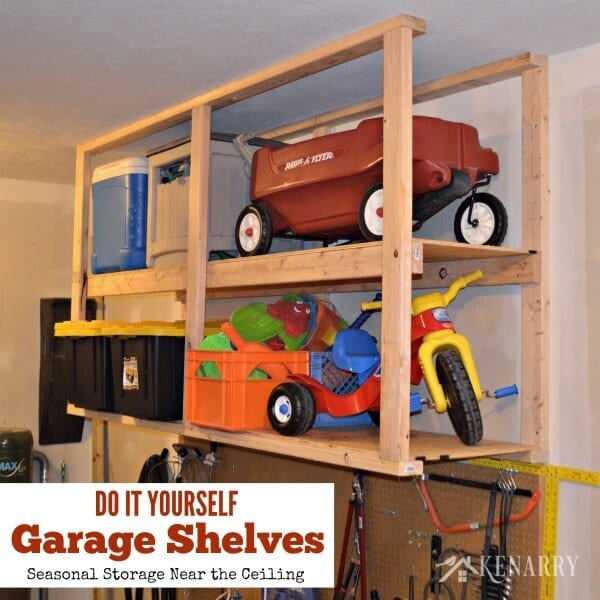 organize the garage with these DIY storage shelves as part of the 10 best organizing tips from Travel Parent Eat