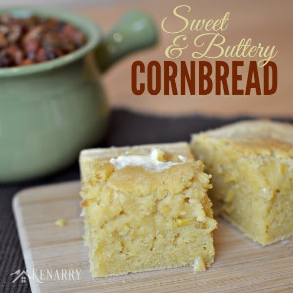 Sweet and Buttery Cornbread is perfect with chili and soups on a cold winter's day!