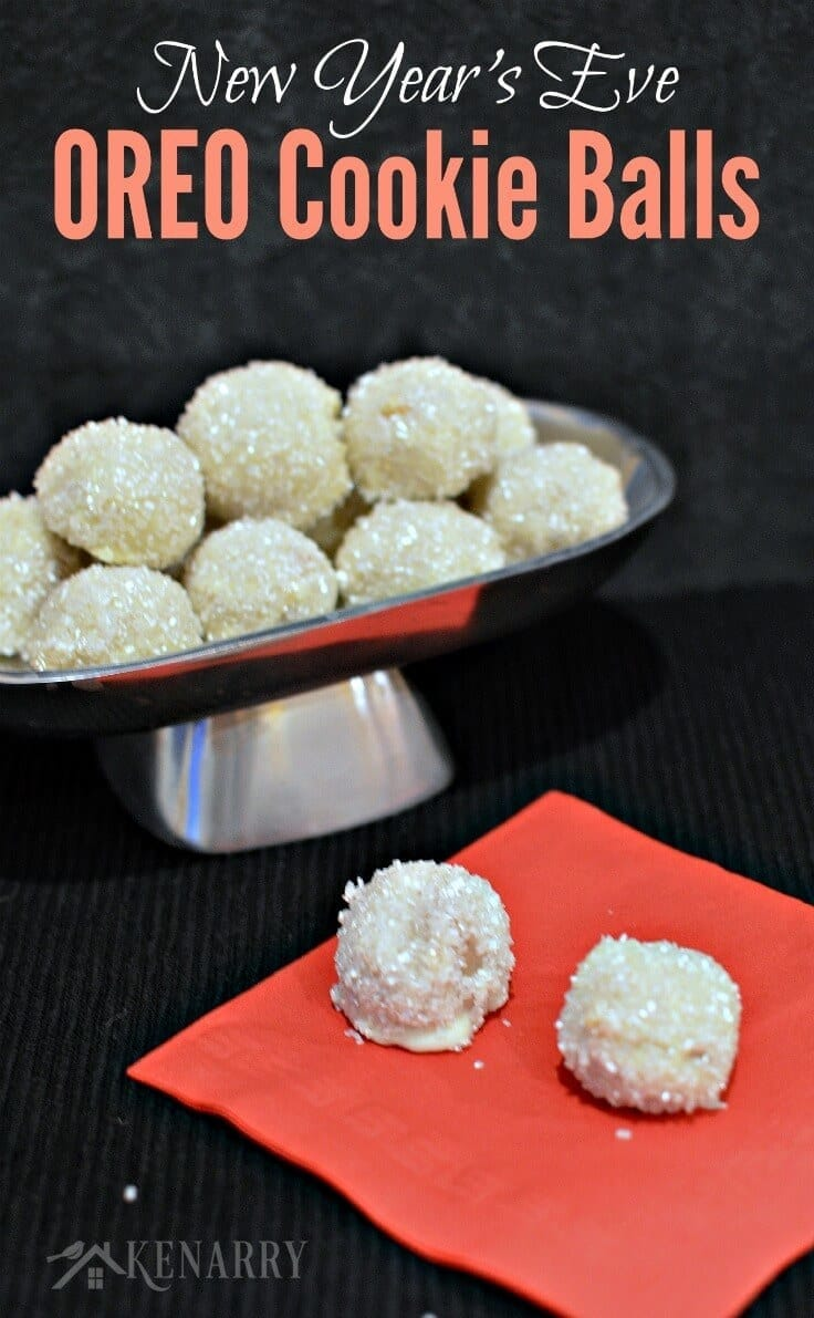 Sparkling like the ball dropping at Times Square on New Year's Eve, these easy no bake OREO Cookie Balls are a delicious dessert recipe for your end of year party. #oreos #partyfood #kenarry