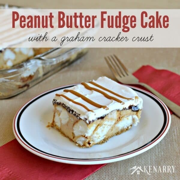 Yum! Peanut Butter Fudge Cake with a graham cracker crust is a great ...