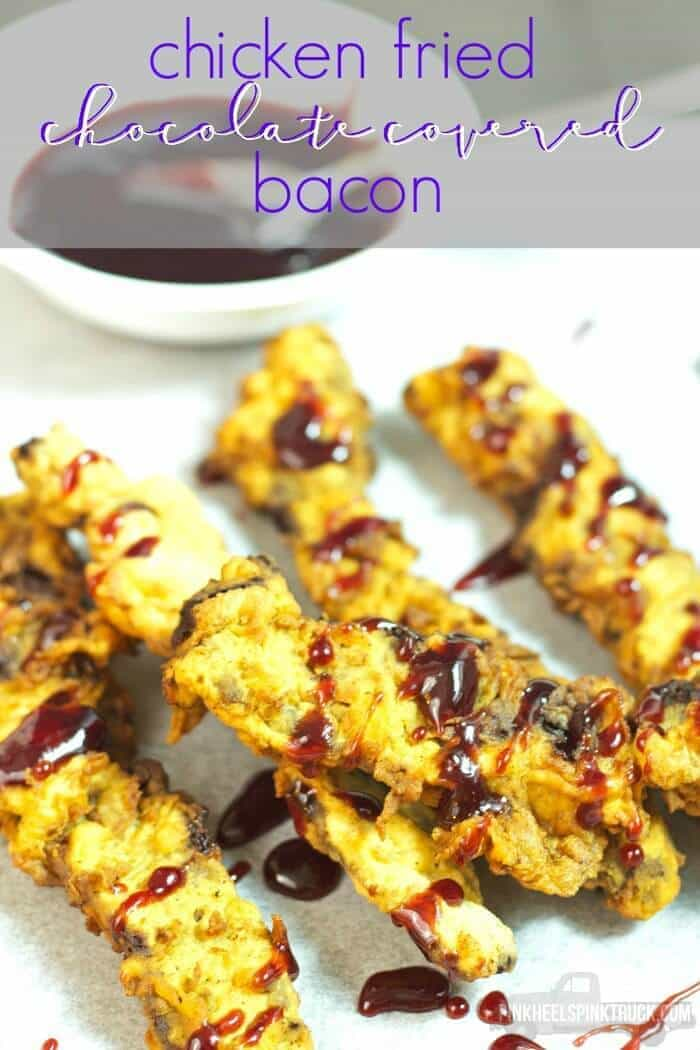 Chicken Fried Chocolate Covered Bacon from Pink Heels Pink Truck featured on Ideas for the Home by Kenarry®