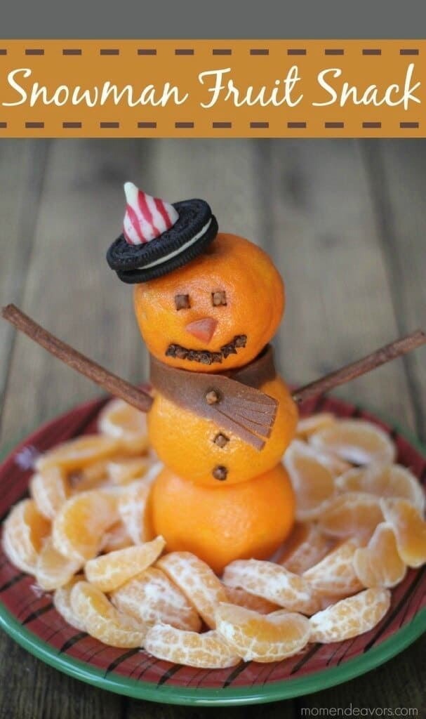Snowman Fruit Snack - Mom Endeavors featured on Ideas for the Home by Kenarry®