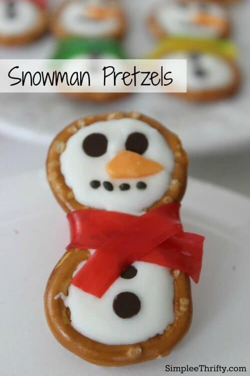 Snowman Pretzels - Simplee Thrifty featured on Ideas for the Home by Kenarry®