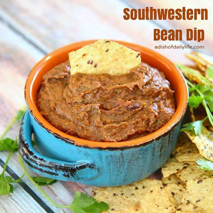 Southwestern Bean Dip from A Dish of Daily Life featured on Ideas for the Home by Kenarry®