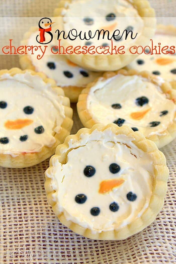 Snowmen Cherry Cheesecake Cookies - This Silly Girl's Life featured on Ideas for the Home by Kenarry®