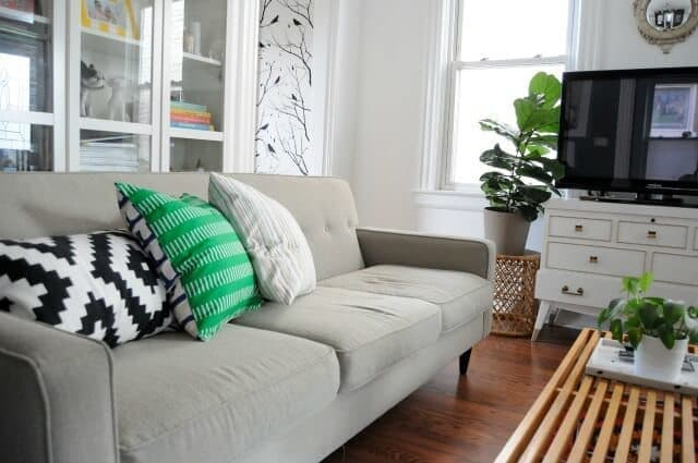 """Eclectic living room design example - """"White, Green and Red Living Room,"""" copyright 2013 Emily May on Flickr and made available under an Attribution 2.0 license"""