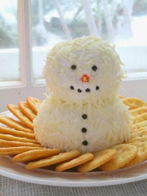 Cute and Yummy Snowman Cheeseball - Crafts a la Mode featured on Ideas for the Home by Kenarry®