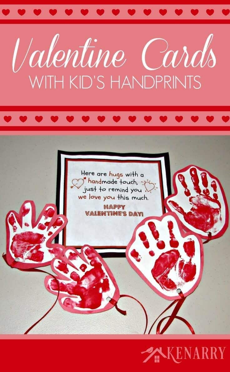 Looking for a great kid's valentine card idea to send to grandparents or other loved ones? Try sending a long-distance hug using your child's handprints and this free printable!