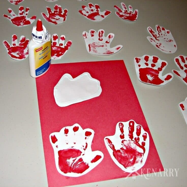Looking for a great kid's valentine card idea to send to grandparents or other loved ones? Try sending a long-distance hug using your child's handprints!