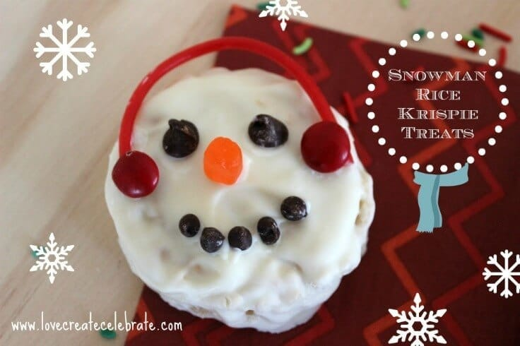 Winter Rice Krispie Snowman Treats - Love Create Celebrate featured on Ideas for the Home by Kenarry®