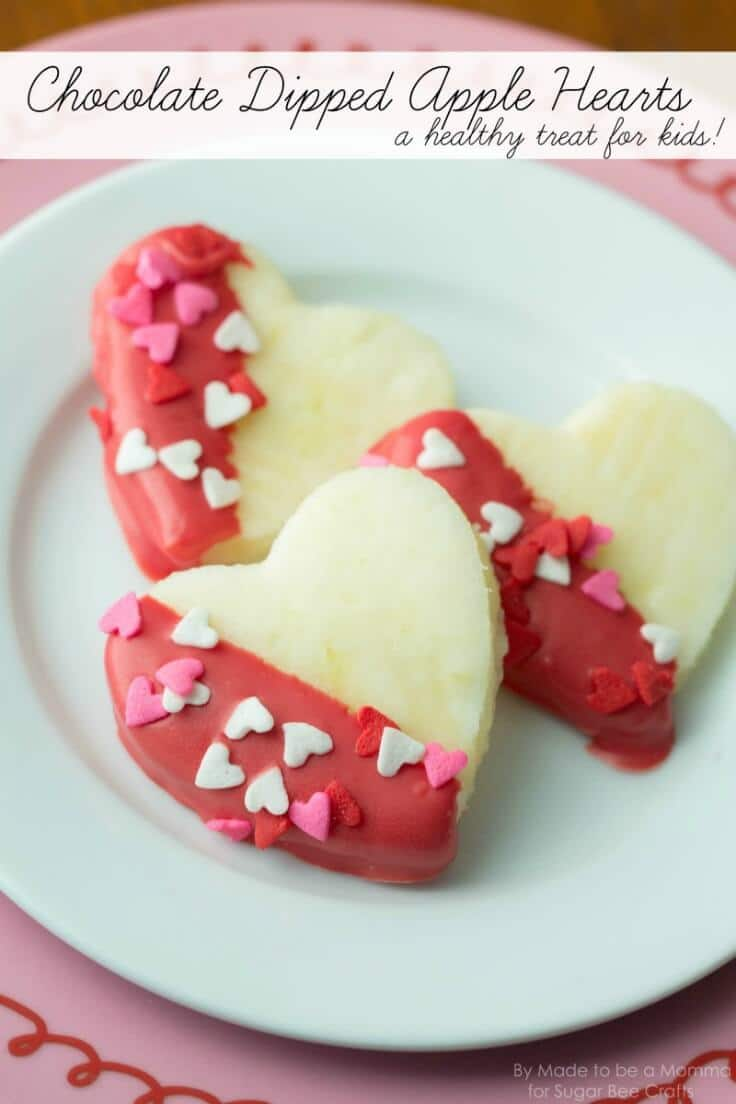 Chocolate Dipped Apple Hearts: Kids Treat - Sugar Bee Crafts featured on Ideas for the Home by Kenarry®