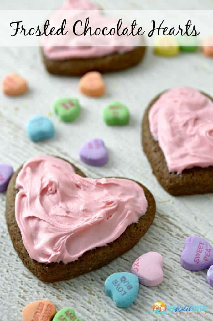 Valentine's Day Frosted Chocolate Heart Cookies Recipe - The Rebel Chick featured on Ideas for the Home by Kenarry®