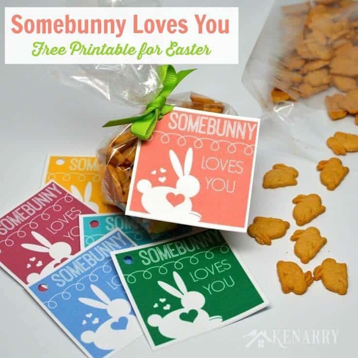 """This is so cute! This free printable tag for Easter lets your child know """"Somebunny Loves You"""". It would also work great as a valentine for friends and classmates at school."""