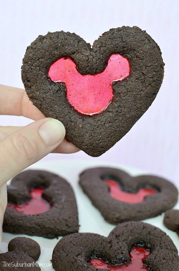 Valentine's Day Stained Glass Mickey Mouse Cookies - The Suburban Mom featured on Ideas for the Home by Kenarry®