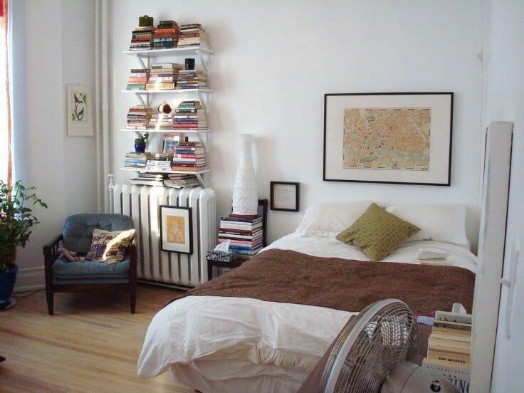 """Love these ideas for a guest bedroom! Photo credit: """"bed and books"""" copyright (c) 2007 Jocelyn Durston on Flickr and made available under an Attribution 2.0 license"""