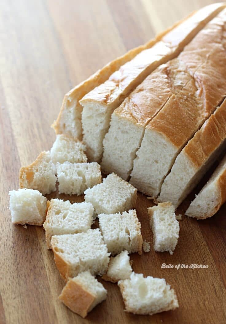 French bread cut into cubes