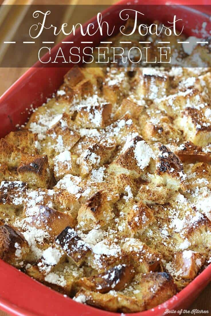 French toast casserole in a red baking dish right out of the oven