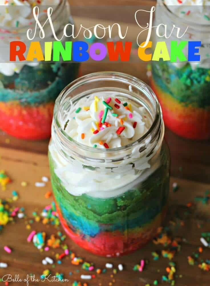 Mason Jar Rainbow Cake - Belle of the Kitchen featured on Ideas for the Home by Kenarry®
