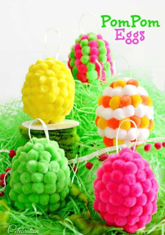 Pom Pom Eggs - Little Miss Celebration featured on Ideas for the Home by Kenarry®