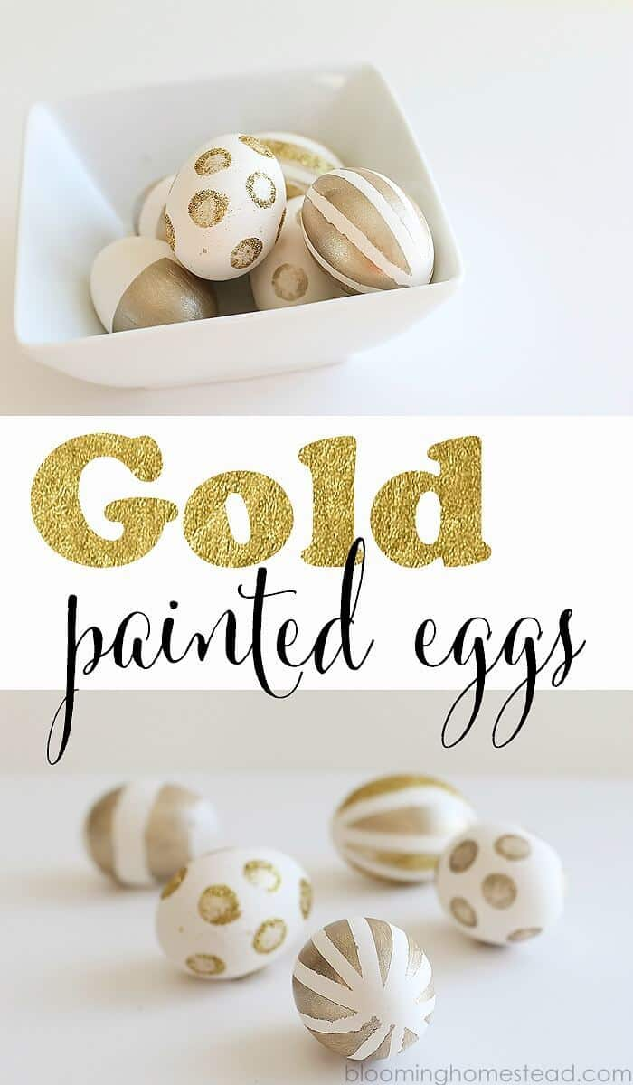 DIY Gold Painted Eggs - Blooming Homestead featured on Ideas for the Home by Kenarry®