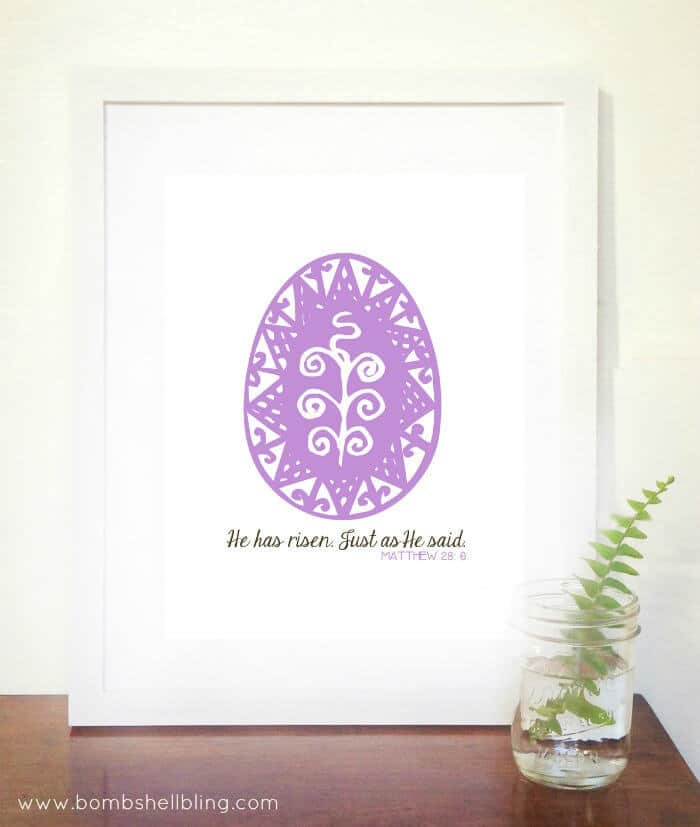 """""""He Has Risen"""" FREE Easter Printable - Bombshell Bling featured on Ideas for the Home by Kenarry®"""