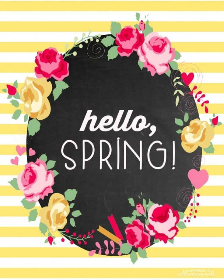 """""""Hello, Spring!"""" Free Printable - Happiness is Homemade featured on Ideas for the Home by Kenarry®"""