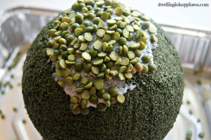 Cute DIY Spring Split Pea Topiary! Perfect centerpiece for your spring decor, or Easter brunch! By Dwelling in Happiness