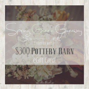 Enter to win a $300 Pottery Barn eCard in the Spring Green Giveaway now through April 5, 2015, 5 AM CT.
