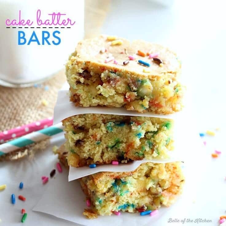 These Cake Batter Bars are chock-full of sprinkles and cake batter flavor! They are easy to make with the help of a cake mix.