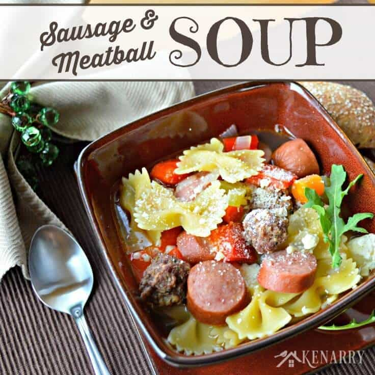 ... meatballs, smoked turkey sausage, vegetables and bow tie pasta in a