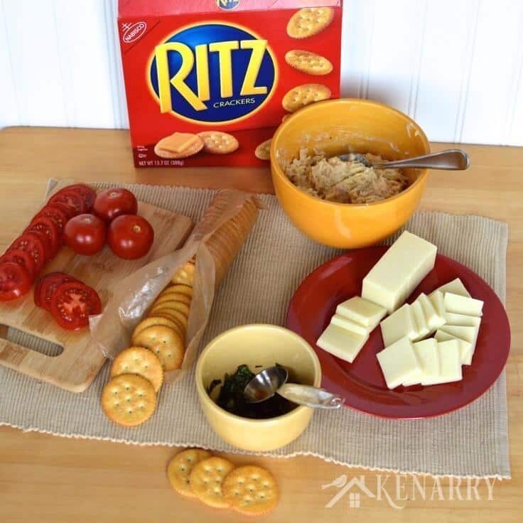 I love caprese salad with tomato, mozzarella, basil and balsamic vinegar! This easy appetizer recipe for Chicken Caprese Crackers takes it to the next level by adding chicken and putting it on a delicious RITZ® Cracker.